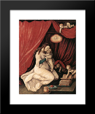 Virgin And Child In A Room: Modern Black Framed Art Print by Hans Baldung