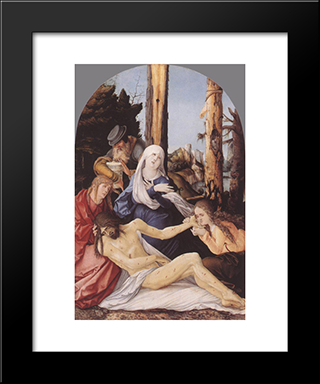 The Lamentation Of Christ: Modern Black Framed Art Print by Hans Baldung