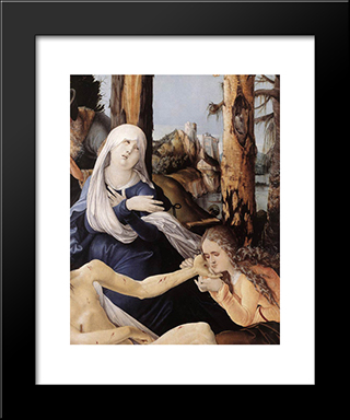 The Lamentation Of Christ (Detail): Modern Black Framed Art Print by Hans Baldung