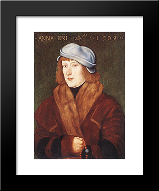 Portrait Of A Young Man With A Rosary: Modern Black Framed Art Print by Hans Baldung