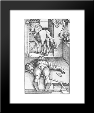 The Groom Bewitched: Modern Black Framed Art Print by Hans Baldung