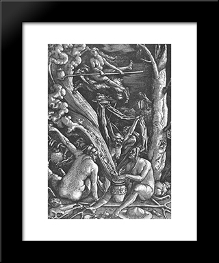 Witches Sabbath: Modern Black Framed Art Print by Hans Baldung