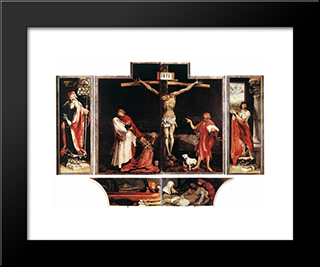 Isenheim Altarpiece (First View): Modern Black Framed Art Print by Matthias Grunewald