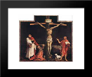 The Crucifixion: Modern Black Framed Art Print by Matthias Grunewald