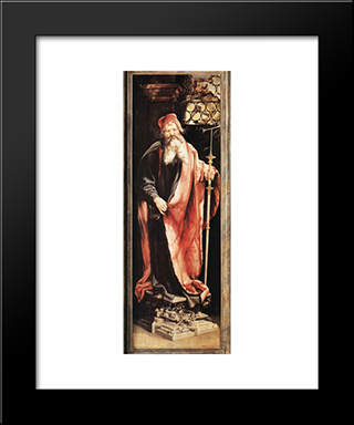 St Anthony The Hermit: Modern Black Framed Art Print by Matthias Grunewald