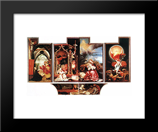 Isenheim Altarpiece (Second View): Modern Black Framed Art Print by Matthias Grunewald