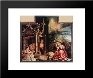 Concert Of Angels And Nativity: Modern Black Framed Art Print by Matthias Grunewald