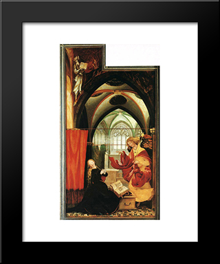 The Annunciation: Modern Black Framed Art Print by Matthias Grunewald
