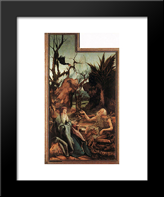 Saints Paul And Antony In The Desert: Modern Black Framed Art Print by Matthias Grunewald