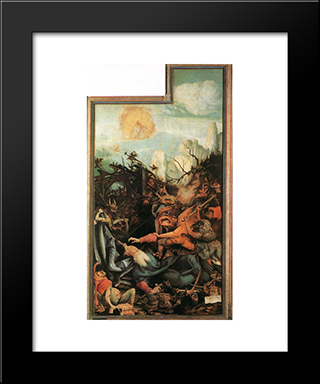 The Temptation Of St Anthony: Modern Black Framed Art Print by Matthias Grunewald