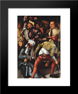 The Mocking Of Christ: Modern Black Framed Art Print by Matthias Grunewald