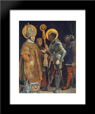 Meeting Of St. Erasmus And St. Maurice: Modern Black Framed Art Print by Matthias Grunewald
