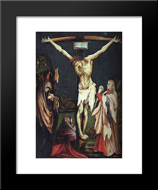 The Small Crucifixion: Modern Black Framed Art Print by Matthias Grunewald