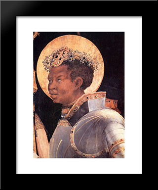St. Maurice (Detail From Meeting Of Saints Eramus & Maurice): Modern Black Framed Art Print by Matthias Grunewald