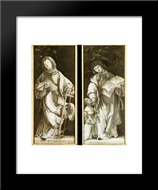 St Lawrence And St Cyricus: Modern Black Framed Art Print by Matthias Grunewald