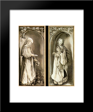 St Elizabeth And A Saint Woman With Palm: Modern Black Framed Art Print by Matthias Grunewald