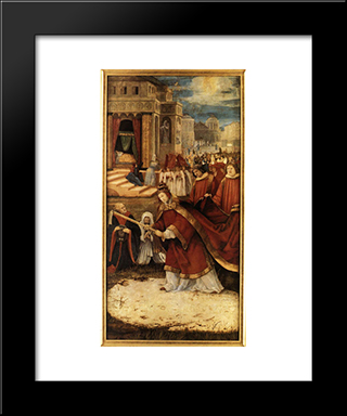 Establishment Of The Santa Maria Maggiore In Rome: Modern Black Framed Art Print by Matthias Grunewald