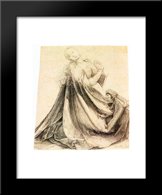 Virgin Of The Annunciation: Modern Black Framed Art Print by Matthias Grunewald