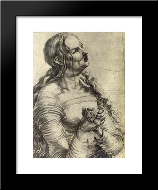 Weeping Woman: Modern Black Framed Art Print by Matthias Grunewald