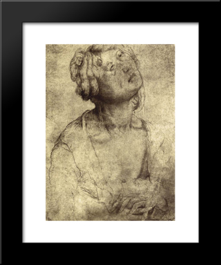 Woman With Open Robe: Modern Black Framed Art Print by Matthias Grunewald