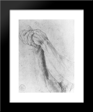 Upper Arm Study: Modern Black Framed Art Print by Matthias Grunewald
