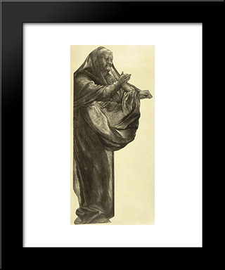 Study Of An Apostle: Modern Black Framed Art Print by Matthias Grunewald
