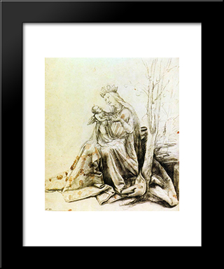 Virgin And Child: Modern Black Framed Art Print by Matthias Grunewald