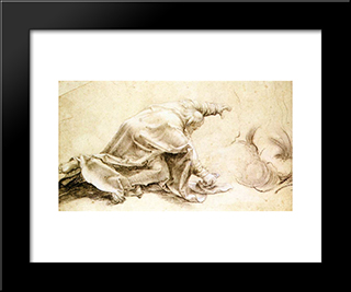 An Apostle From The Transfiguration: Modern Black Framed Art Print by Matthias Grunewald