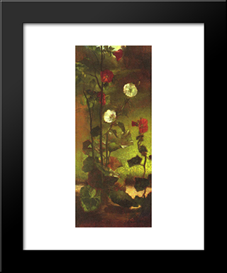 Hollyhocks: Modern Black Framed Art Print by John LaFarge