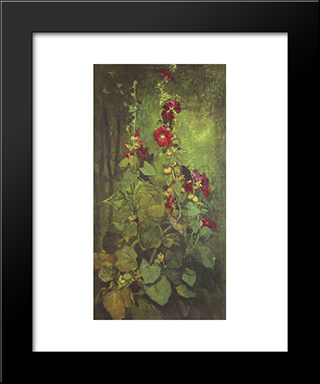 Agathon To Erosanthe, Votive Wreath: Modern Black Framed Art Print by John LaFarge