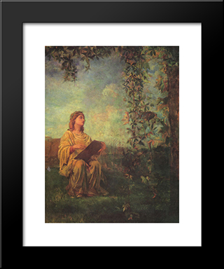 Decorative Panel, Seated Figure In Yellow: Modern Black Framed Art Print by John LaFarge