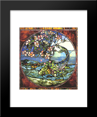 Fish And Flowering Branch: Modern Black Framed Art Print by John LaFarge