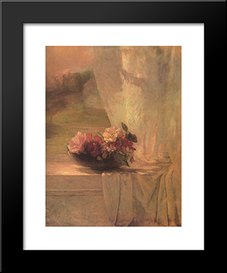 Flowers In A Persian Porcelain Water Bowl: Modern Black Framed Art Print by John LaFarge