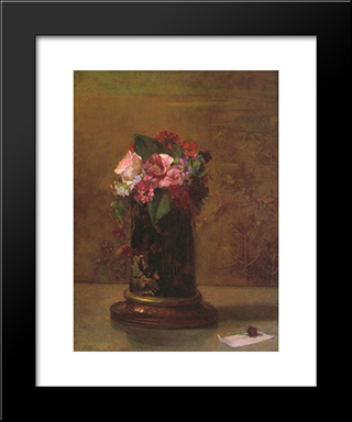 Flowers In A Japanese Vase: Modern Black Framed Art Print by John LaFarge