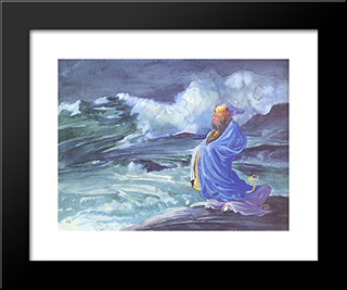 A Rishi Calling Up A Storm, Japanese Folklore: Modern Black Framed Art Print by John LaFarge