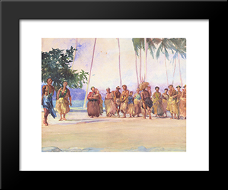 Fagaloa Bay, Samoa ' The Taupo, Faase, Marshalling The Woman Who Bring Presents Of Food: Modern Black Framed Art Print by John LaFarge
