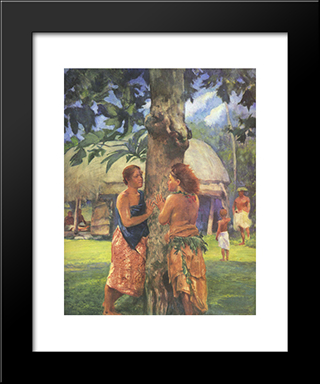 Portrait Of Faase, The Taupo Of The Fagaloa Bay, Samoa: Modern Black Framed Art Print by John LaFarge