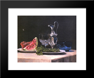 Still Life Study Of Silver, Glass And Fruit: Modern Black Framed Art Print by John LaFarge