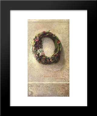 Wreath Of Flowers: Modern Black Framed Art Print by John LaFarge