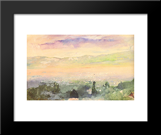 Sunrise In Fog Over Kyoto: Modern Black Framed Art Print by John LaFarge