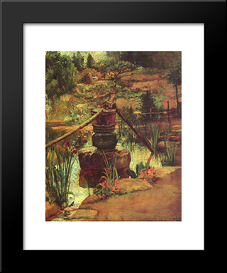 The Fountain In Our Garden At Nikko: Modern Black Framed Art Print by John LaFarge
