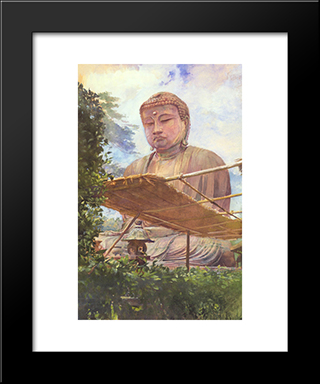 The Great Statue Of Amida Buddha At Kamakura: Modern Black Framed Art Print by John LaFarge