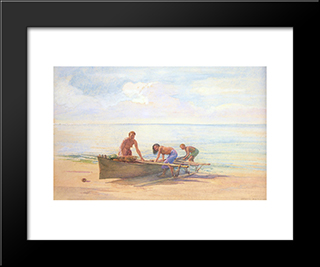 Women Drawing Up A Canoe: Modern Black Framed Art Print by John LaFarge