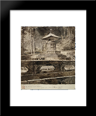 The Tomb Of Iyeyasu Tokugawa: Modern Black Framed Art Print by John LaFarge