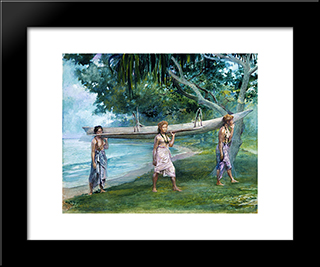 Girls Carrying A Canoe, Vaiala In Samoa: Modern Black Framed Art Print by John LaFarge