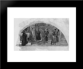 The Adjustment Of Conflicting Interests: Count Raymond Of Toulouse Swears At The Altar To Observe The Liberties Of The City: Modern Black Framed Art Print by John LaFarge