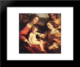 The Mystic Marriage Of St. Catherine: Modern Black Framed Art Print by Correggio
