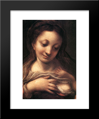 Virgin And Child With An Angel (Madonna Del Latte): Modern Black Framed Art Print by Correggio