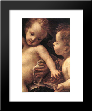 Virgin And Child With An Angel (Detail): Modern Black Framed Art Print by Correggio
