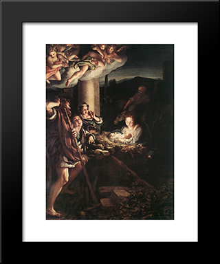 Nativity (Holy Night): Modern Black Framed Art Print by Correggio